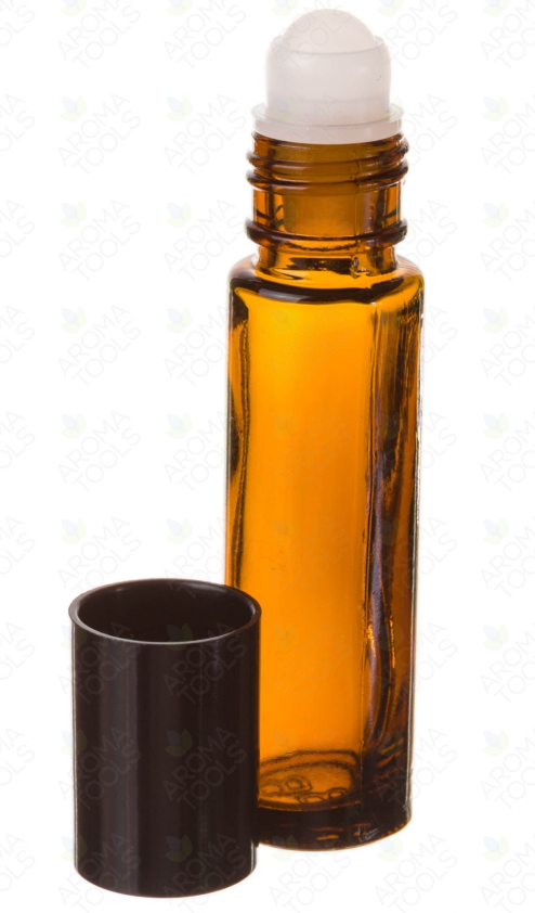 1/3 OZ. AMBER GLASS ROLL-ON VIALS WITH BLACK CAPS (PACK OF 6)