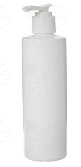 8oz White Plastic Bottle with Pump Top