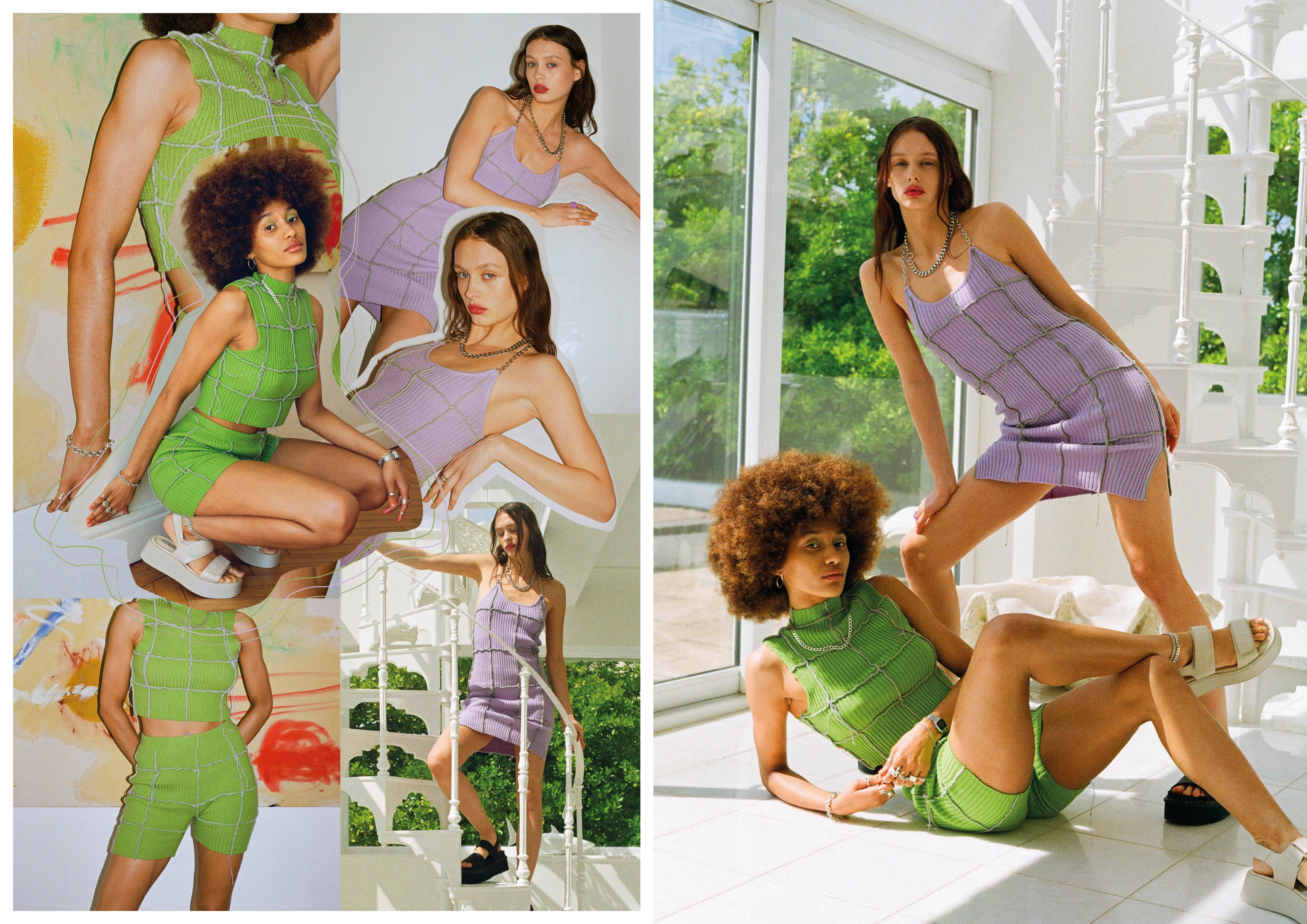 green overlocking panel cropped top and shorts and lilac overlocking panel dress with chain halter neck