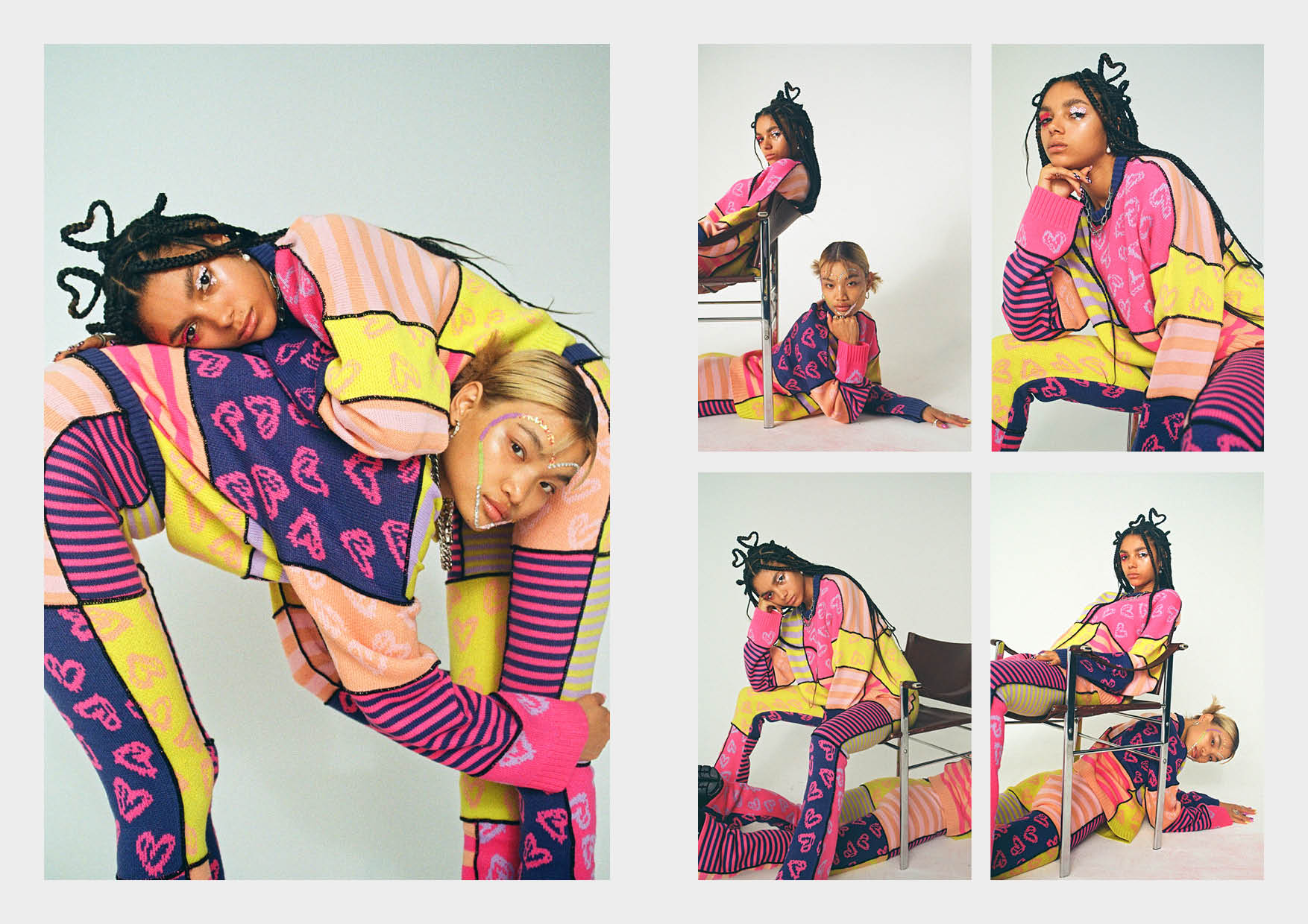 pink, purple, yellow stripe and hearts panelled flared trouser knit pant and matching co-ord knit jumper