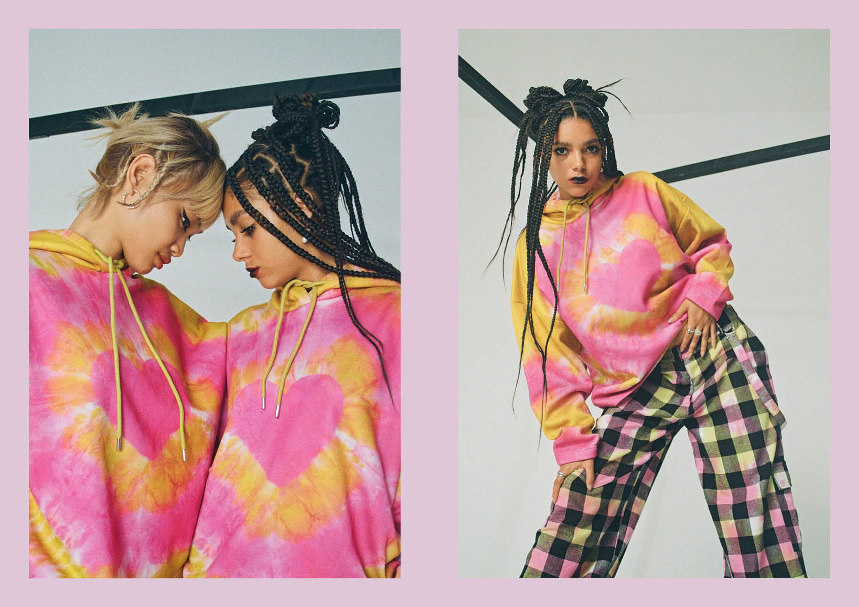 pink and yellow tie dye heart hoodie pullover