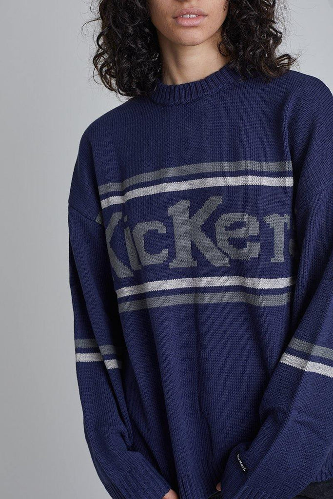 Kickers Mens Navy Logo Knit