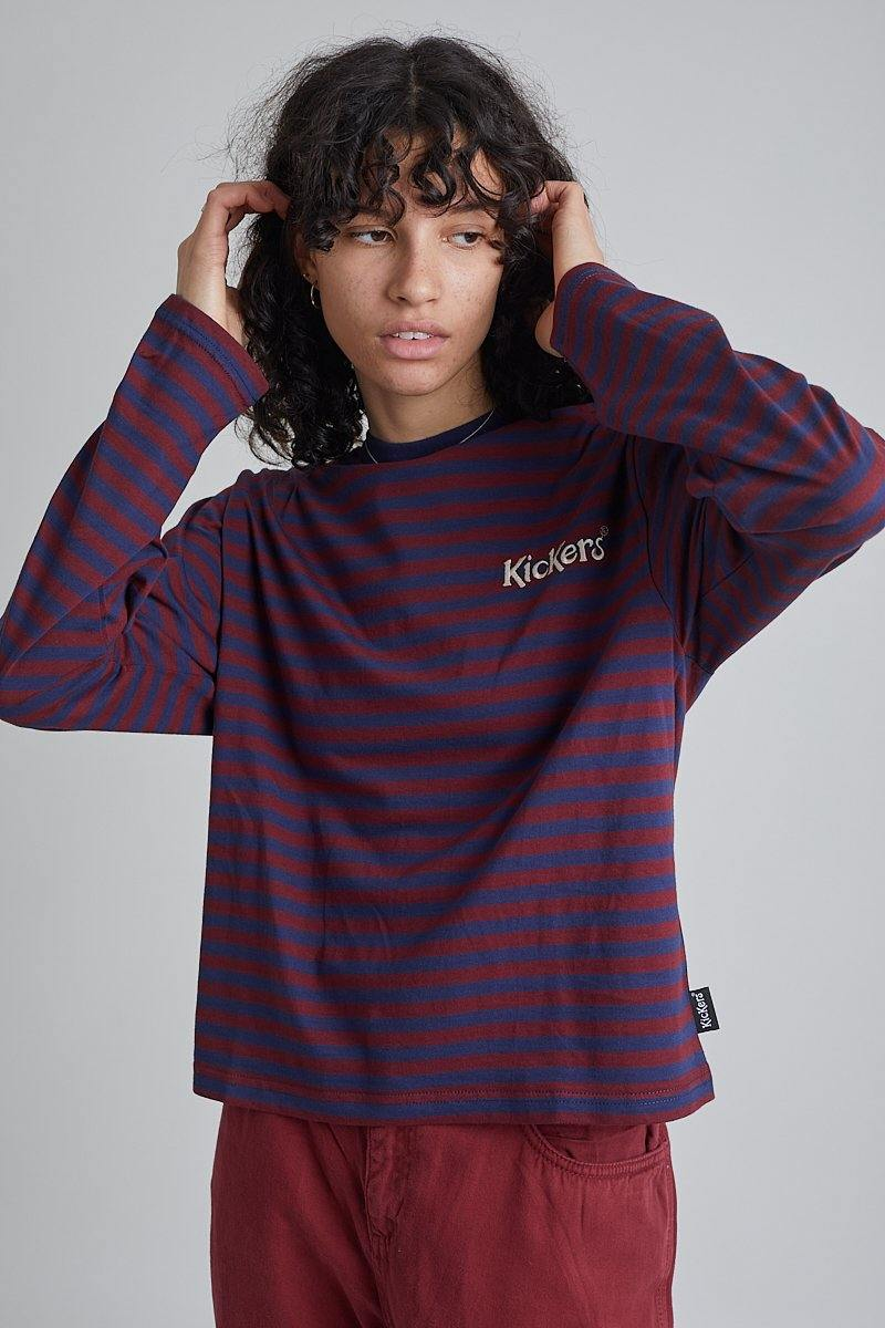 Kickers Navy & Burgundy Striped Tee - The Ragged Priest