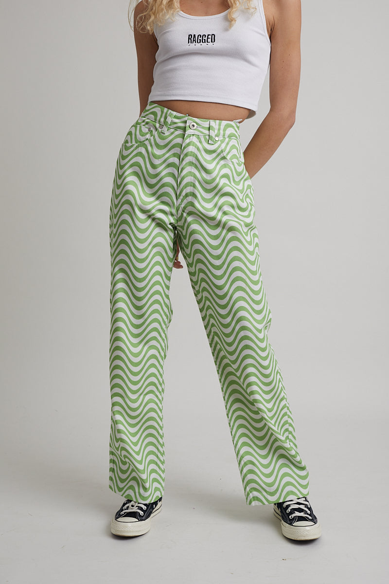 Wave Jean - White & Lime