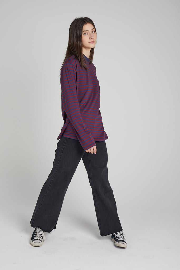 Kickers Mens Burgundy & Navy Long Sleeved Tee
