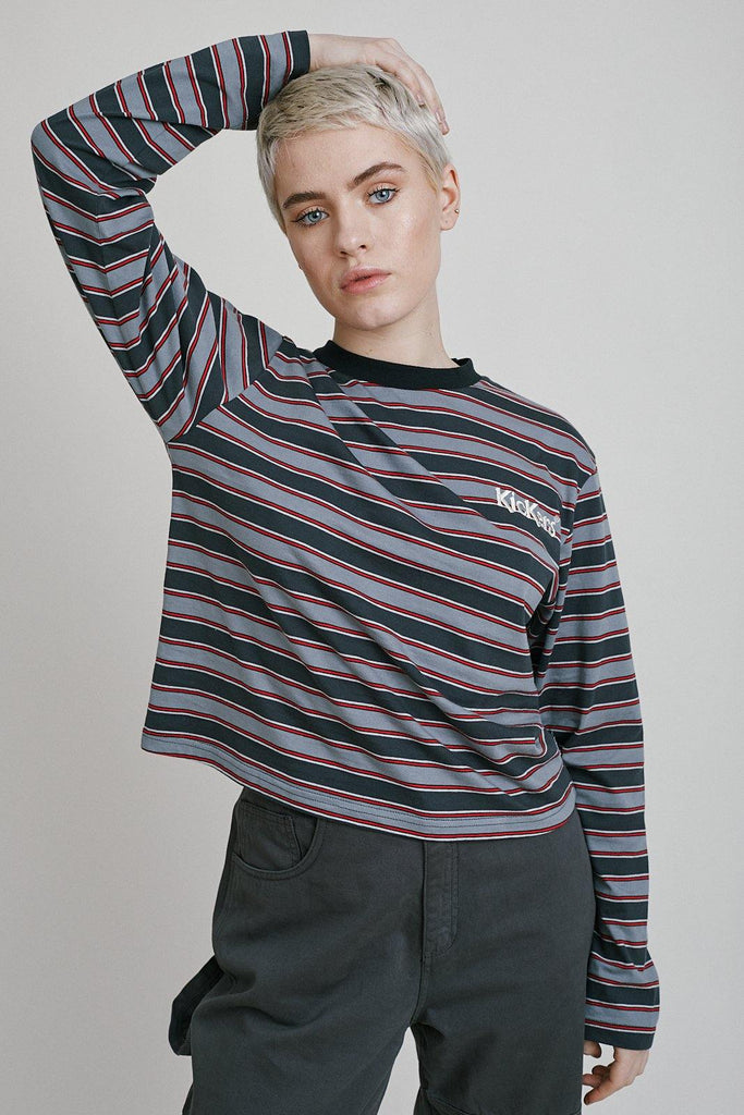 Kickers Grey & Red Striped Tee