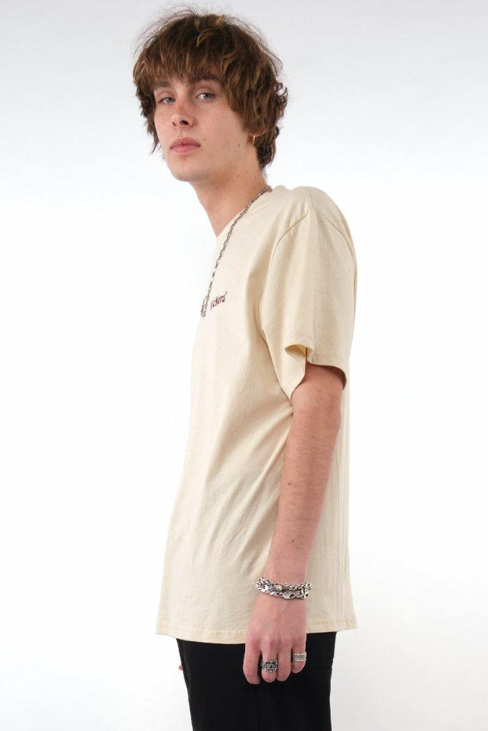 Kickers Mens Beige Tee With Red Logo