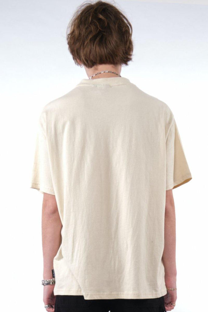 Kickers Mens Beige Tee With Red Logo - The Ragged Priest