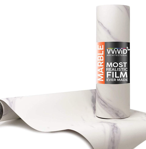 VViViD Slanted Carrara White Marble Matte Architectural Film - The VViViD Vinyl Wrap Shop