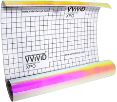 DECO65 High Gloss Thermal Gold-to-Pink Opal Holographic Adhesive Craft Film - roll unrolled
