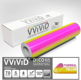 DECO65 High Gloss Thermal Gold-to-Pink Opal Holographic Adhesive Craft Film