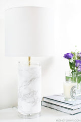 XPO White-Grey Veined Marble Vinyl Wrap lamp | Vvivid Canada