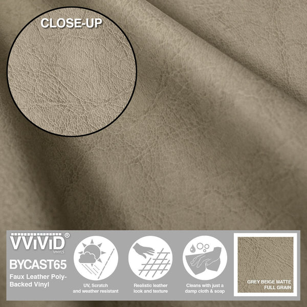 Bycast65 Grey Beige Matte Full-Grain Pattern Faux Leather Marine Vinyl Fabric - The VViViD Vinyl Wrap Shop