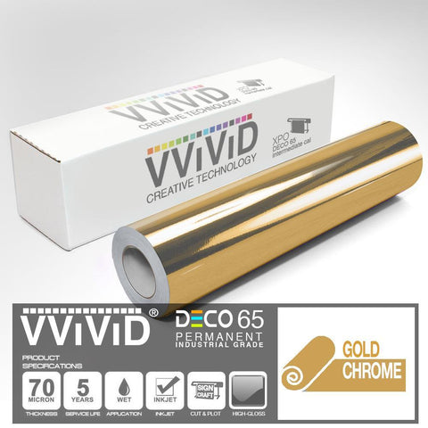 DECO65 Gloss Gold Chrome Permanent Craft Vinyl Film | Vvivid Canada