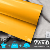 "VViViD Sun Yellow Heavy-Duty Heat Transfer Vinyl 12"" x 36"""
