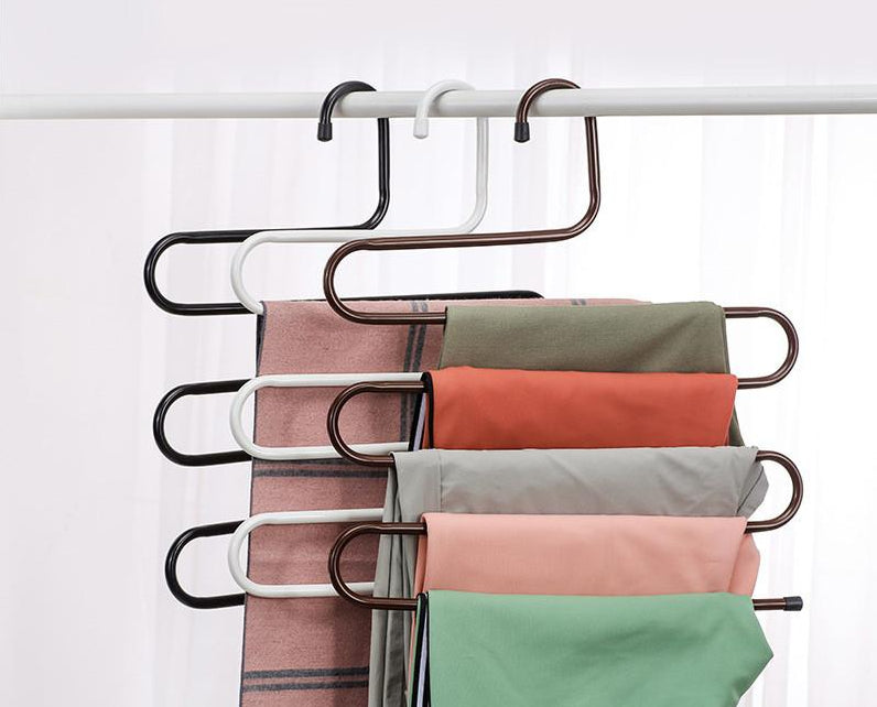 Stainless Steel Wardrobe Storage S Type Pants Trousers Hanger Multi Layers Clothing Towel Storage Rack Closet Space Saver
