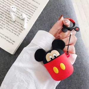 Fun Fashion  AirPods Case 3D Cute Earphone Case For Apple Airpods 2 Cover Lovely Cartoon Wireless Earphones with Finger Ring Strap