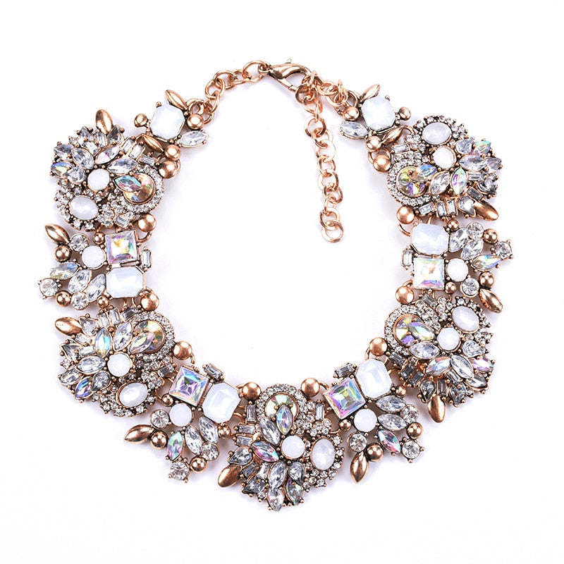 Large Collar Bib Big Chokers Necklaces Luxury Crystal Rhinestone Necklace Indian Ethnic Wedding Statement Necklace