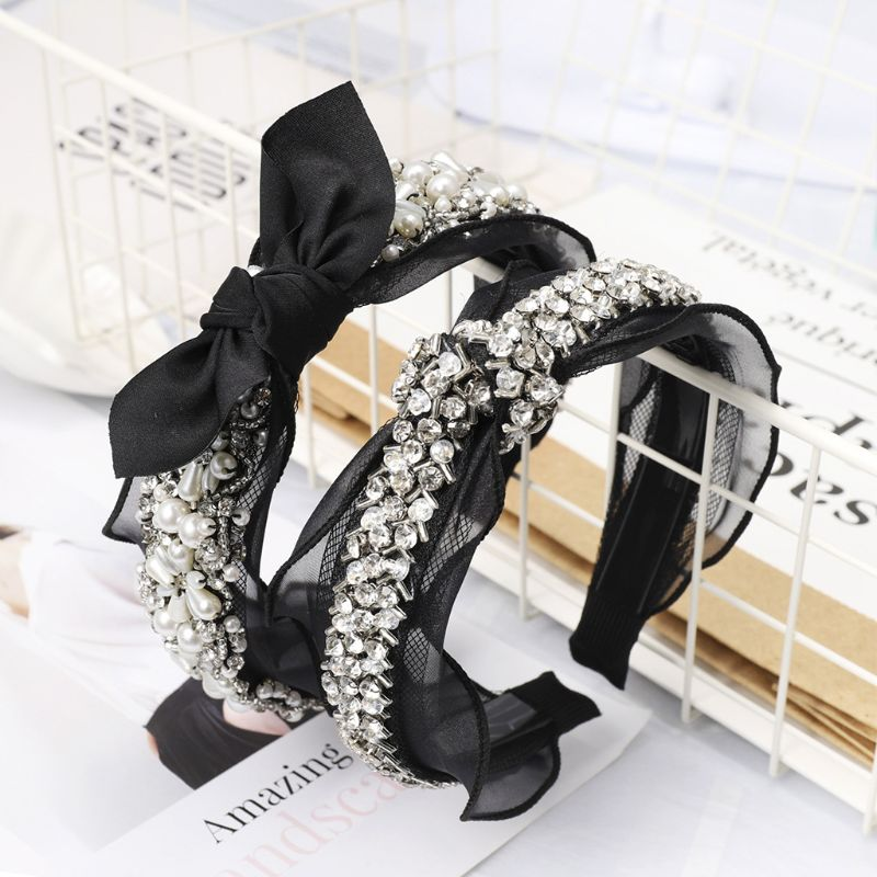 Ladies Headband Handmade Beading Hair Hoop Wedding Jewelry Wide Vintage Faux Pearl Rhinestone Hollow Gird Bowknot Lace Headwear
