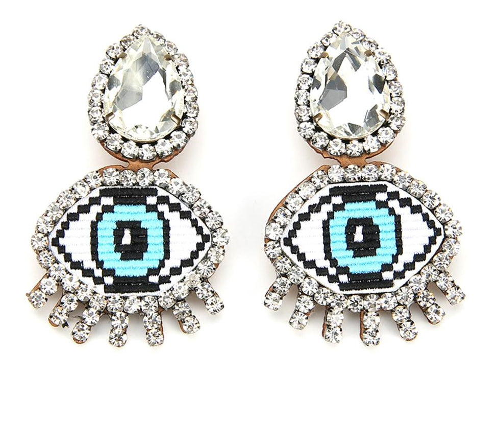 2019 Funny Blue Evil Eye Crystal Clip Earrings Big Expression Emoji Embroidery Rhinestone Earrings Without Piercing No Hole