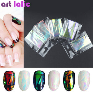 5 Sheets 3D Holographic Starry Sky Glitter Foil Finger Nail Art Sticker Rainbow Mirror Stencil Decal DIY Manicure Design Tools