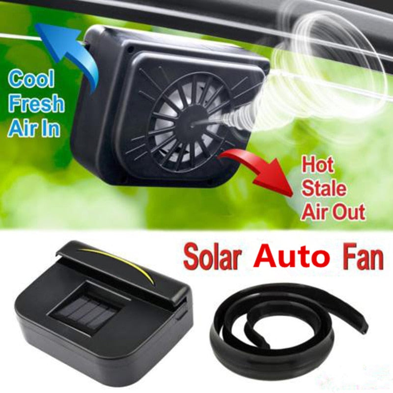 1Pcs Solar Power Auto Window Fan Air Vent Cooling Fan Ventilation Cooler Radiator Solar Exhaust Fan with Rubber Stripping Car A