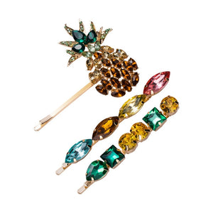 2019 Summer Pineapple Hair Clips Minimalism Rhinestone Fashion Colorful Acrylic Hairpins for Women Girls Hair Accessories FJ070