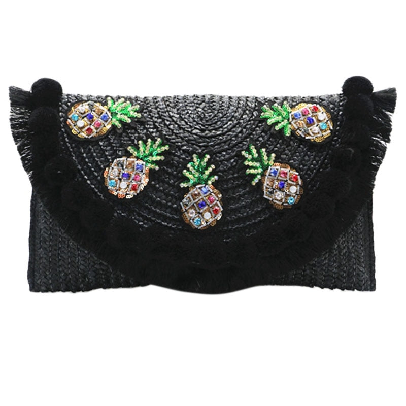 Beach Straw Clutch Messenger Bag Envelope Bag Women Lady Day Tassels Pineapple Summer Crossbody Bags