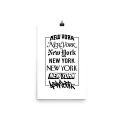 New York Logos - White Poster