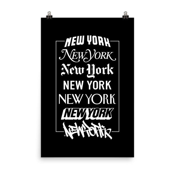 New York Logos - Black Poster