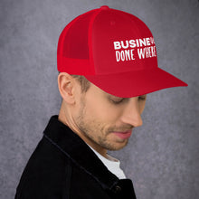 Load image into Gallery viewer, Business Done Where? White on Red Hat