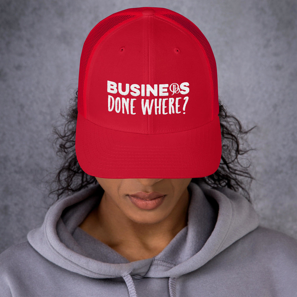 Business Done Where? White on Red Hat