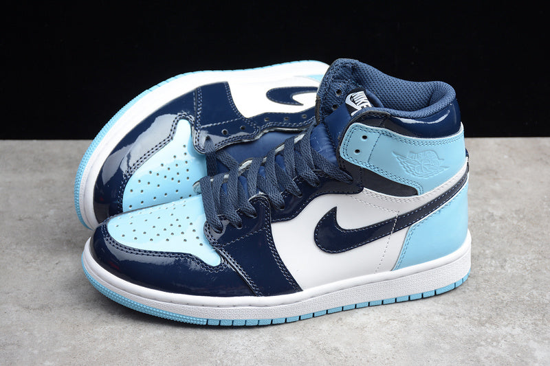 Nike AIR JORDAN 1 High OG UNC Patent Leather Obsidian Blue Chill White Men's Running Shoes Sneakers Size 40-45 / 7-11 D0461-401