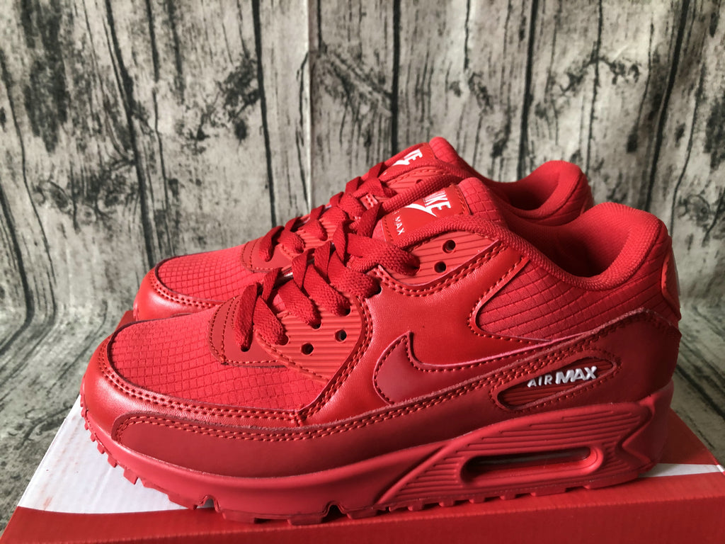 NIKE AIR MAX 90 ESSENTIAL All Red University Red White Men Women Running Shoes Sneakers Size 36-45 / 5.5-11 AJ1285-602