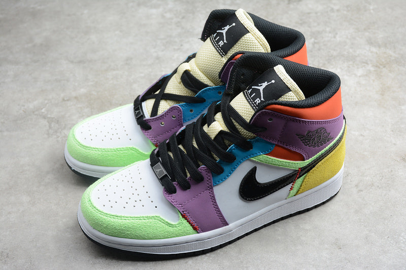 Nike AIR JORDAN 1 MID SE Lightbulb Multi Color Women Shoes Sneakers Size 36-39 / 5.5-8 CW1140-100
