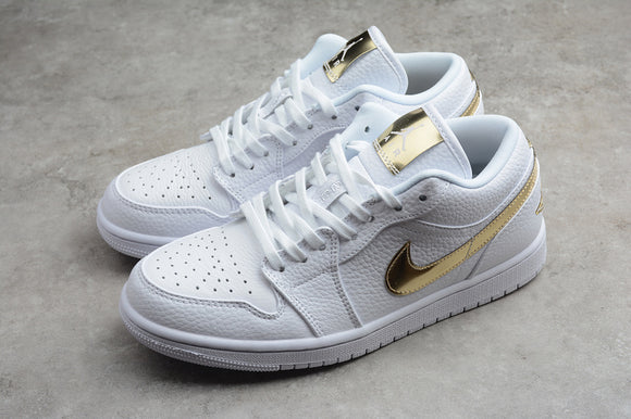Nike AIR JORDAN 1 Low White Metallic Gold Men Women Shoes Sneakers Size 36-47 / 5.5-13 CZ4776-100