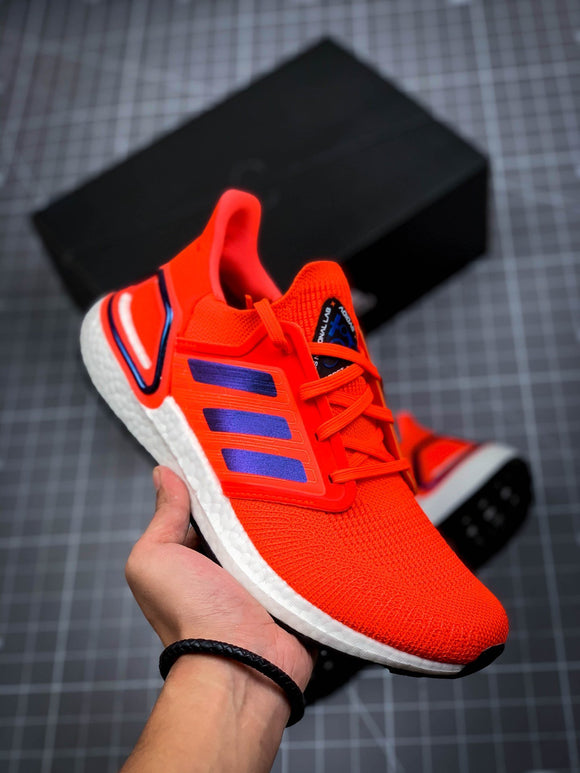 Adidas Ultra Boost Ultraboost 20 Solar Red Boost Blue Violet Metallic Cloud White Men's Running Shoes Sneakers FV8449