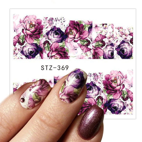 1 Sheet Water Transfer Women Full Cover Sticker Nail Art Decals Nail Art Beauty Purple Rose Decorations Polish Tips - 88digital