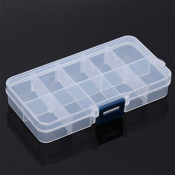 10 Grids Adjustable Transparent Plastic Storage Box for Small Component Jewelry Tool Box Bead Pills Organizer Nail Art Tip Case - 88digital