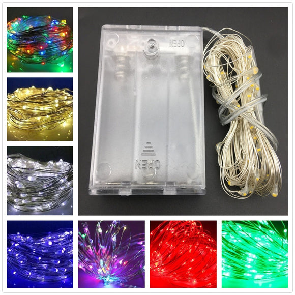 10M 5M 100 50 LED 3XAA Battery LED String Lights for Xmas Garland Party Wedding Decoration Christmas Tree Flasher Fairy Lights - 88digital