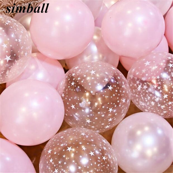 10inch Pink Balloons 2.8g Transparent Balloons Latex Helium Balloon Happy Birthday Clear Stars Thick Ballon Party Decor Supplies - 88digital