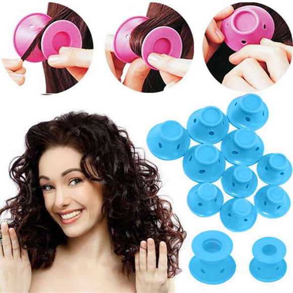 10pcs/set Soft Rubber Magic Hair Care Rollers Silicone Hair Curler No Heat Hair Styling Tool blue - 88digital