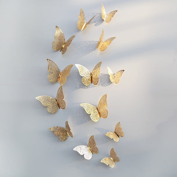 12 Pcs/Set 3D Wall Stickers Butterfly Hollow Paper 3Sizes Silver Gold - 88digital