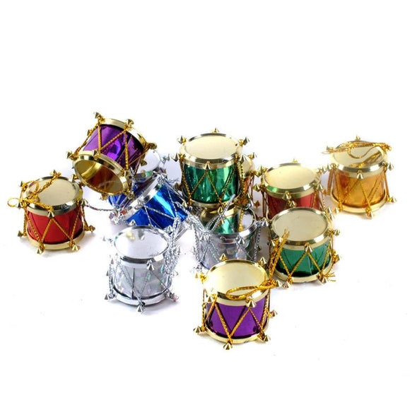 12 pcs/bag 3cm Laser Small drum Christmas Ornament colorful Mini Gift box Christmas Tree pendant New Year ornaments Decorations - 88digital