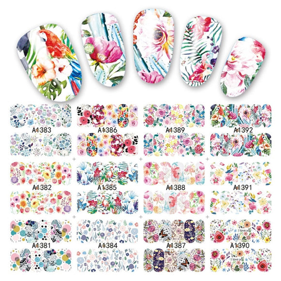 12Designs/sheet Lot Water Decal Transfer Nail Art Nail Stickers Slider Full Cover Sun Flower Daisy Lily Jasmine Primrose - 88digital