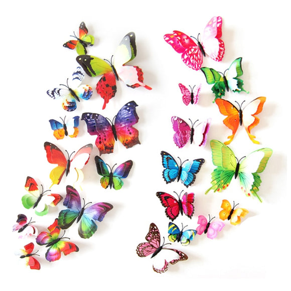 12Pcs 3D Double layer Butterfly Wall Sticker on the wall for Home Decor DIY Butterflies Fridge Magnet stickers Room Decoration - 88digital