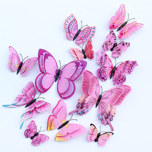 12pcs Multicolor Double Layer Wings 3D Butterfly Wall Sticker Magnet - 88digital