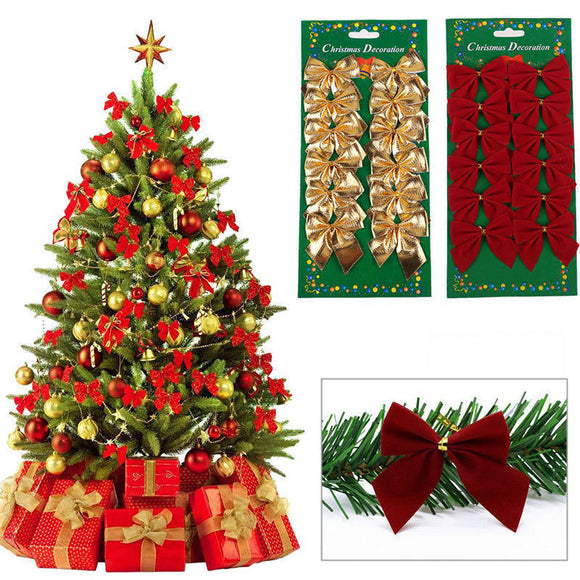 12pcs Pretty Gold Bowknots Christmas Ornament Tree Decoration Party Bowknots Baubles New Year Xmas Christmas Decoration For Home - 88digital