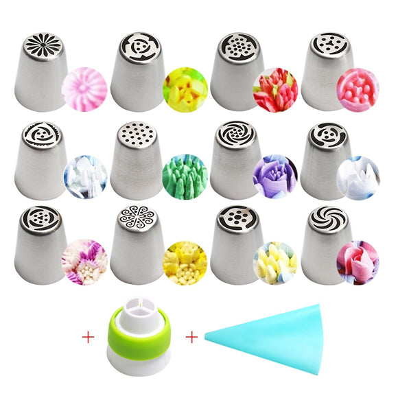 Stainless Steel Russian Tulip Icing Piping Nozzles Flower Cream Pastry Tips Nozzles Silicone Bag 14pc/Set - 88digital
