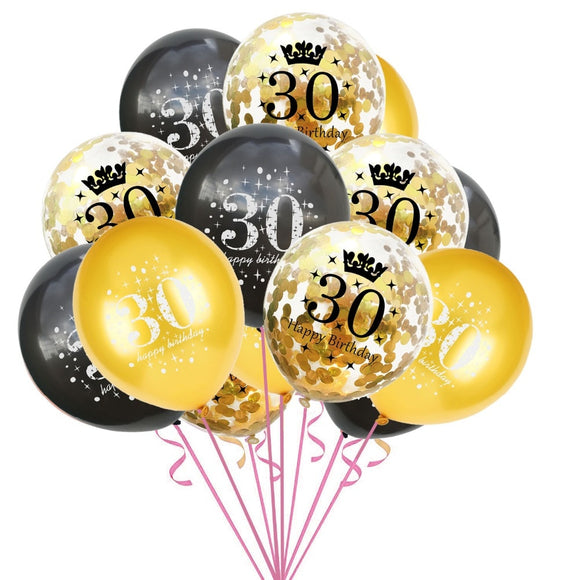 15PCS Mixed Gold Confetti Balloons number 16 18 30 40 50 60 70 80 90 years old Birthday party digital ballon Latex Globos - 88digital